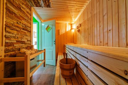 finnish: Interior of small home Finnish wooden sauna