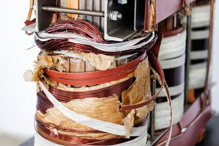 power transformer: details of broken high voltage power transformer at repair shop