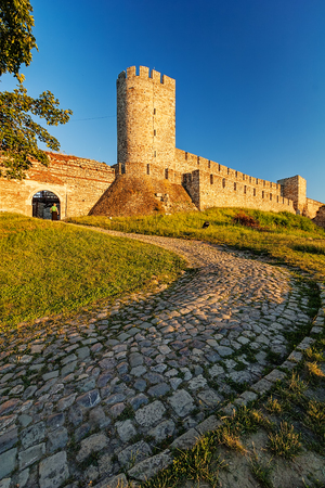 belgrade: Belgrade fortress and Kalemegdan park with dramatic clouds