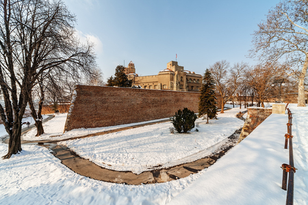 Belgrade fortress and Kalemegdan park with dramatic clouds  Stock Photo