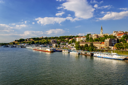 Belgrade from river Sava with tourist riverboats on a sunny day