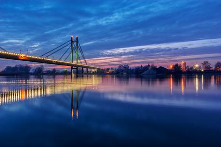 Bridge across river at night with artificial lightning, Belgrade Serbia