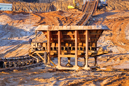 mine site: open mining pit with heavy machinery Stock Photo