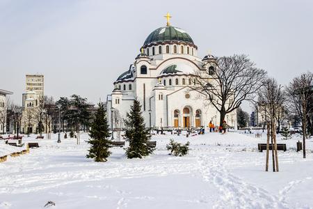 Cathedral of Saint Sava at winter, Belgrade Serbia Stock Photo