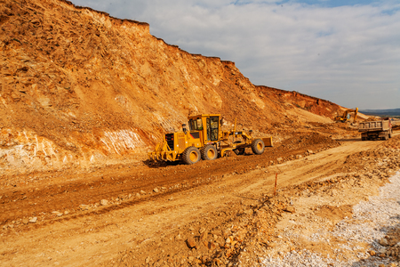 Road making with heavy machines Stock Photo