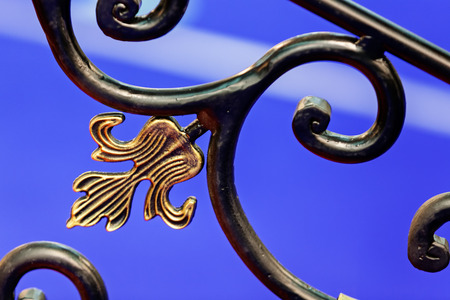 details of structure and ornaments of wrought iron fence and gate
