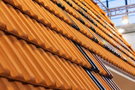 pattern detail of orange ceramic roof tiles