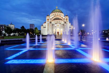 Saint Sava temple with fountain in Belgrade Serbia