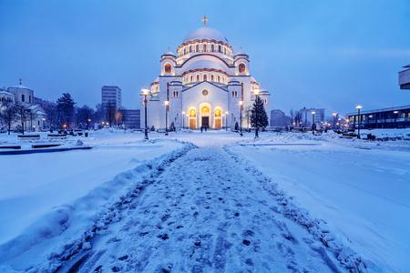 Saint Sava temple in winter, Belgrade Serbia