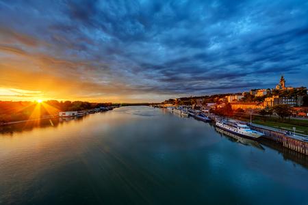 Panorama of Belgrade at night with river sava
