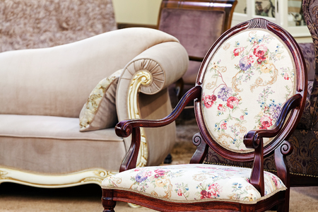 Detail of classic furniture sofa in living room.