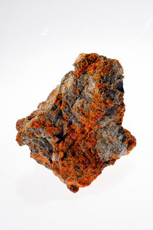 sulphide mineral realgar on the white background