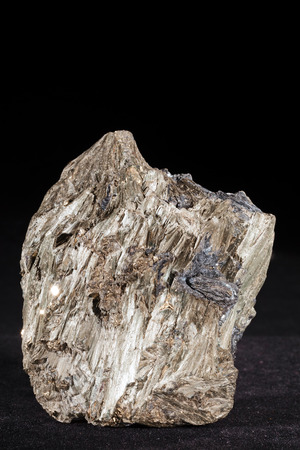 leaden: Pyrite , Galena, and tremolite on the black  background Stock Photo