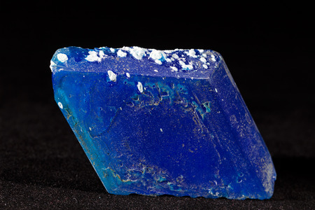 chalcanthite mineral on the black background, note shallow depth of field