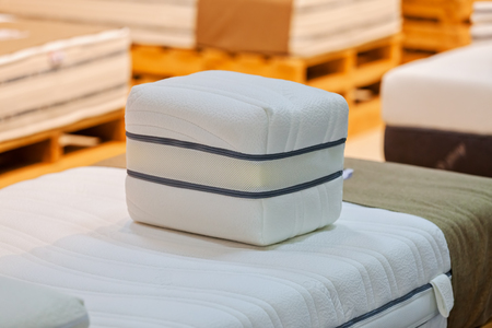 exhibit the pattern of the mattress to the bed, note shallow depth of field Stok Fotoğraf