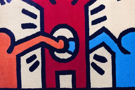 voorbeeld kleurrijk tapijt voor een kinderkamer, let op ondiepe scherptediepte Stockfoto