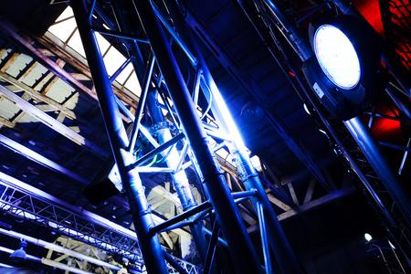 Big white spotlight on a outdoor concert lighting rig Stock fotó