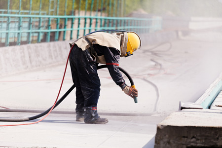 blasting of concrete, note shallow depth of field 版權商用圖片 - 86862206