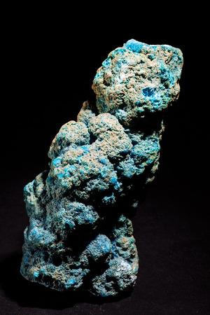 Chalcanthite (blue copper sulphate) isolated on black background