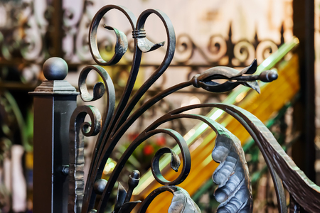 Details, structure and ornaments of wrought iron fence with gate