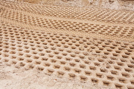 tire tracks: smaller sand with tire tracks in construction Stock Photo