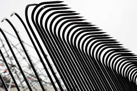 metal railings for terraces and courtyards, note shallow depth of field