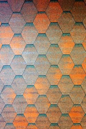 Detail of roof shingle on exhibition stand at construction fair