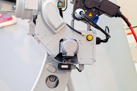 Robotic machine tool for industrial manufacture factory; note shallow depth of field