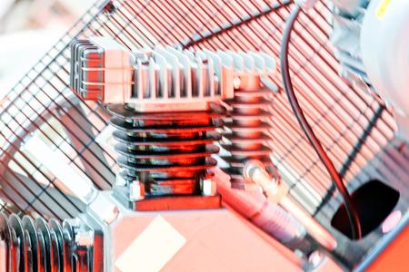Een detail en onderdeel van een nieuwe industriemotor; wazig voor backround