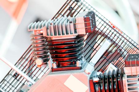 Een detail en onderdeel van een nieuwe industriemotor; noteer ondiepe scherptediepte