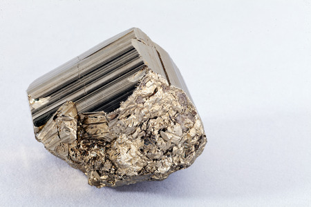 pyrites, mineral from the group of sulfides on the white background