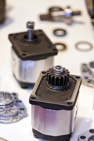 Closeup new design of parts for machine on exhibition show; note shallow depth of field Stock fotó
