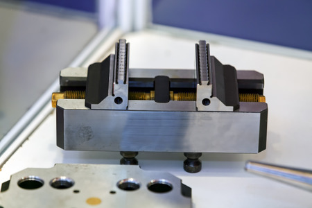 Closeup new design of parts for machine on exhibition show; note shallow depth of field Imagens