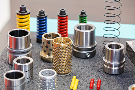 Closeup new design of parts for machine on exhibition show; note shallow depth of field Stok Fotoğraf