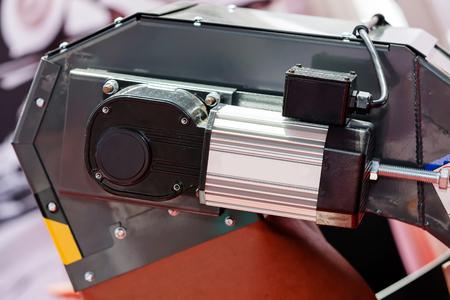 Een detail en onderdeel van een nieuwe industriemachine; noteer ondiepe scherptediepte Stockfoto - 89248492