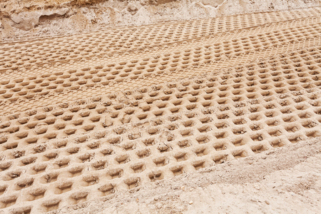 smaller sand with tire tracks in construction Stok Fotoğraf - 89248503