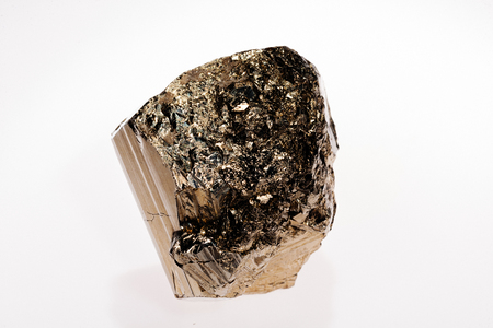 sulphide: pyrites, mineral from the group of sulfides on the white background