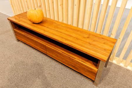 wooden low sideboard for the living room Stock Photo