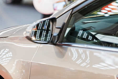 rearview mirror on the motor vehicle, note shallow depth of field Banco de Imagens - 87296072