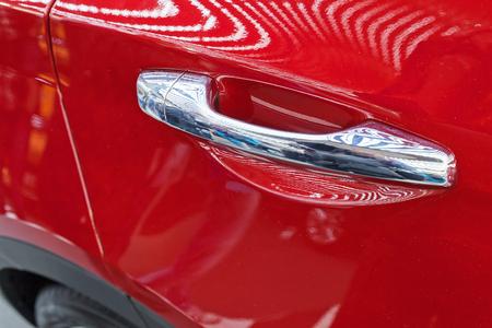 door handles of cars without  door lock, note shallow depth of field