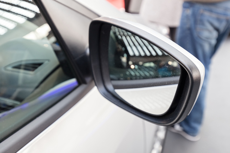 side mirror on the motor vehicle, note shallow depth of field Banco de Imagens