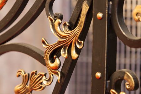decorations made of wrought iron, note shallow depth of field
