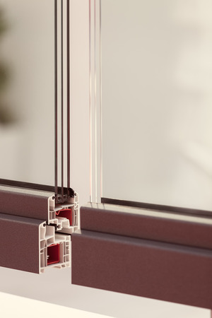 part of the window frames with glass, note shallow depth of field