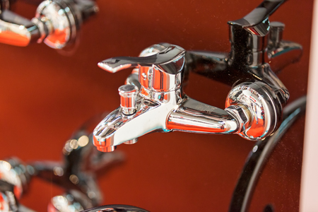 new types of taps for bathroom, note shallow depth of field
