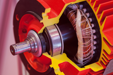 shaft: section of vertical gear unit with cylindrical gears, note shallow depth of field Stock Photo