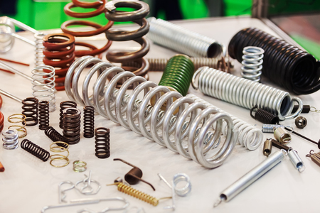Various metal springs for different purposes, note shallow depth of field