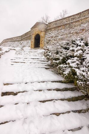old stone stairs within the Belgrade Fortress under the snow