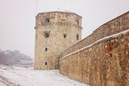 view from the fortress under the snow, note shallow depth of field
