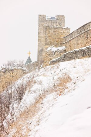 Belgrade old fortress under the snow, note shallow depth of field