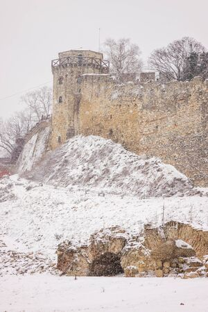 Belgrade fortress under the snow, note shallow depth of field
